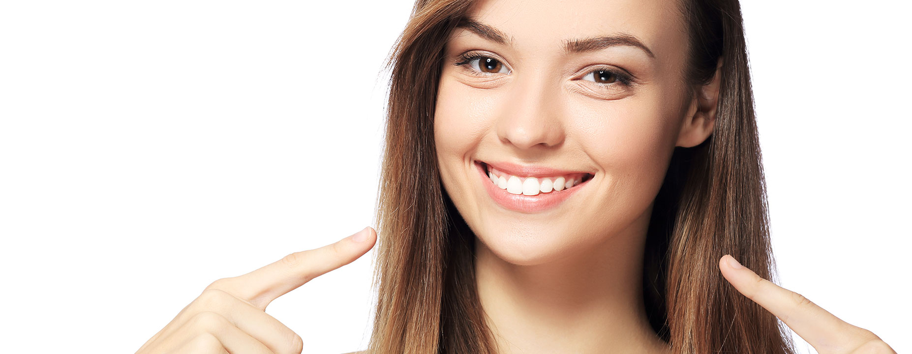 Young lady showing her healthy teeth